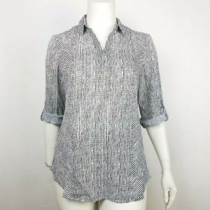 Chicos Womens Blouse Striped Black Size 3 XL NWT